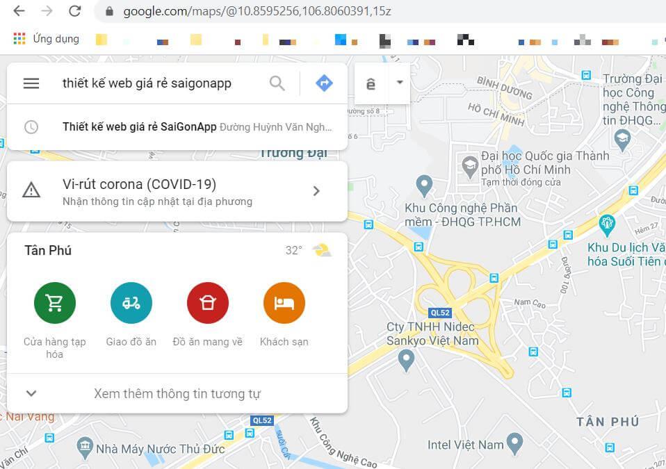 nhập tên shop vào ô search maps