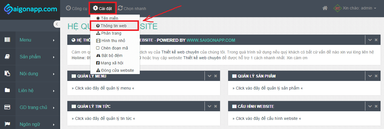vào mục cài đặt thông tin web