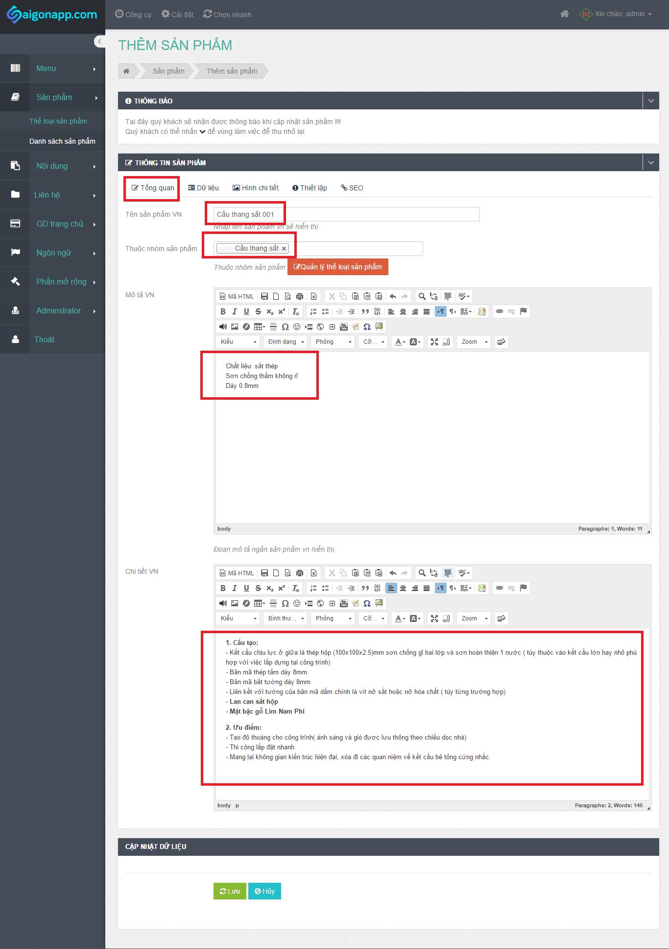hướng dẫn thêm sản phẩm vào web-2