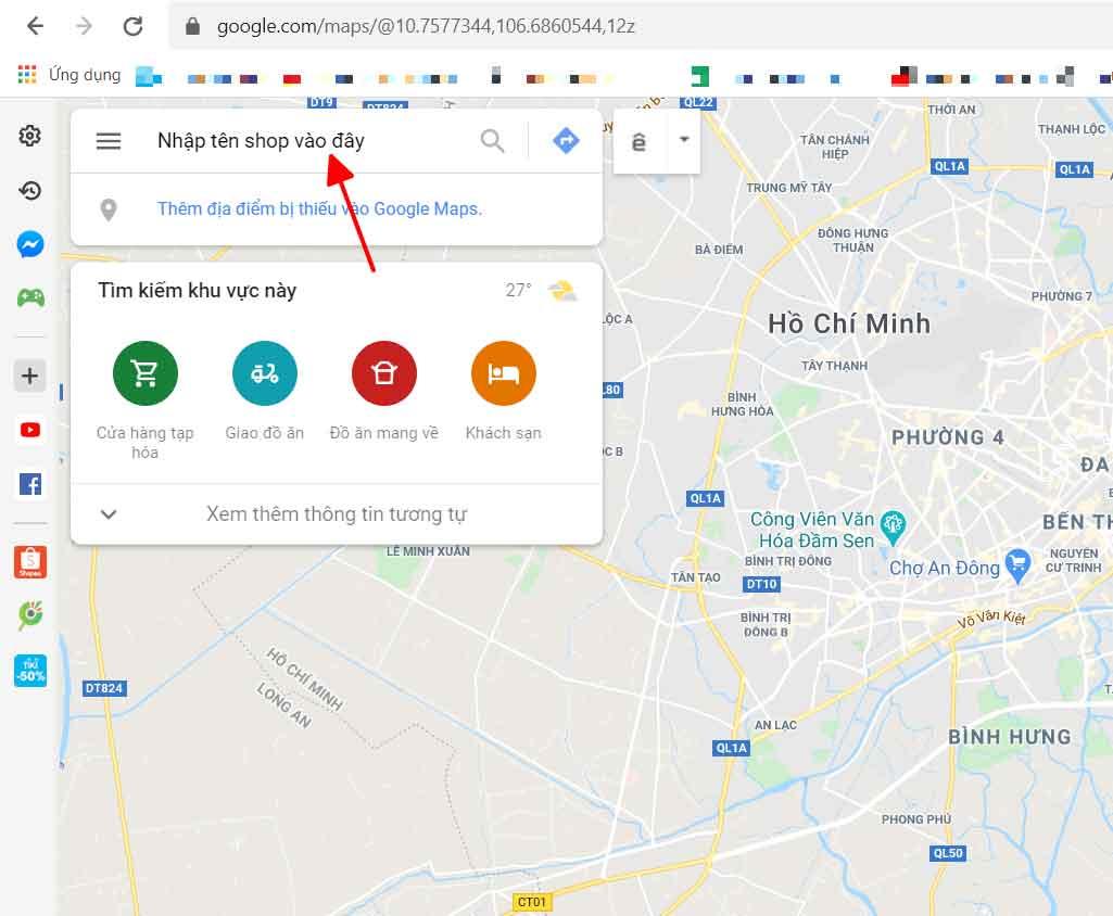 Nhập tên shop hoặc công ty vào google maps