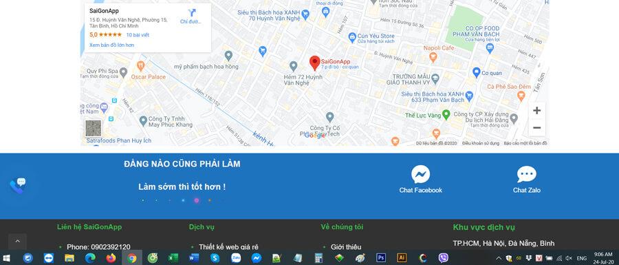 Bản đồ trên google maps của SaiGonApp