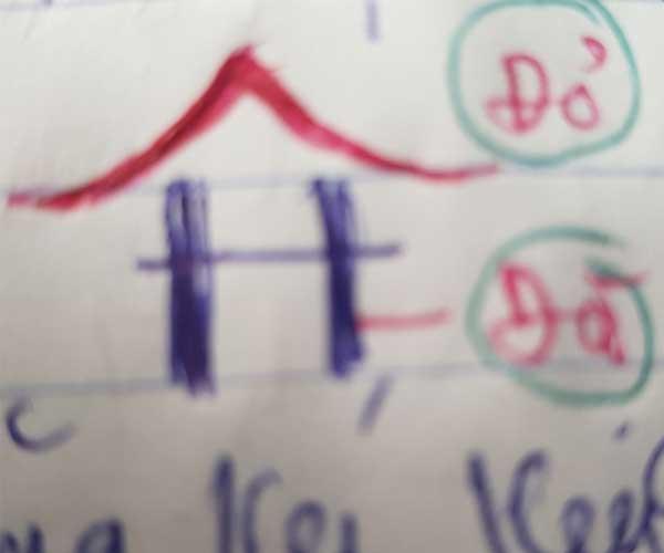 Ảnh chụp bản vẽ tay Logo Hội An House