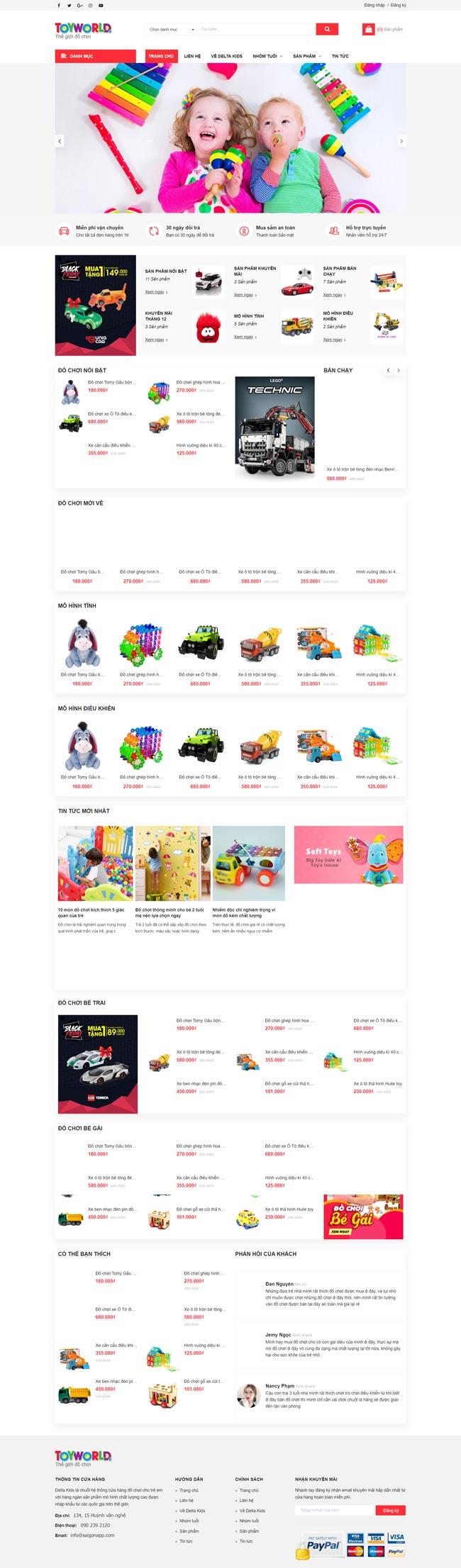 web bán đồ chơi trẻ em demo