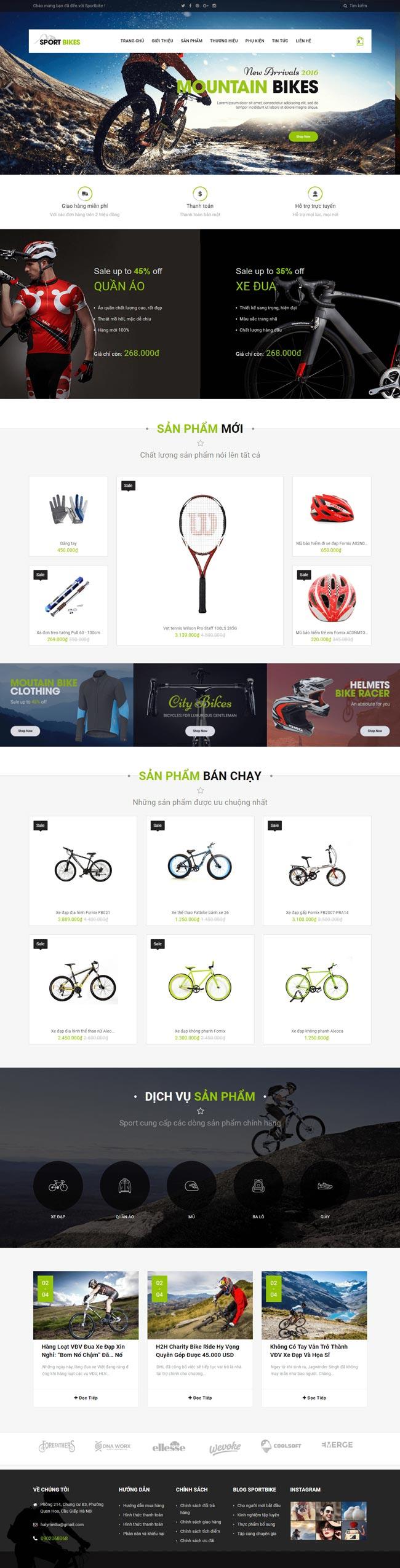 web bán đồ thể thao demo