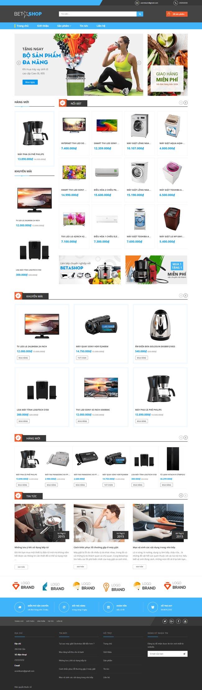 web bán thiết bị điện tử, điện lạnh