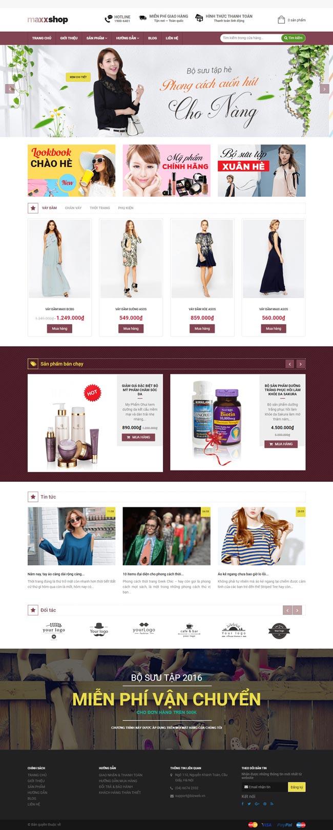 web thời trang bán quần áo fashion