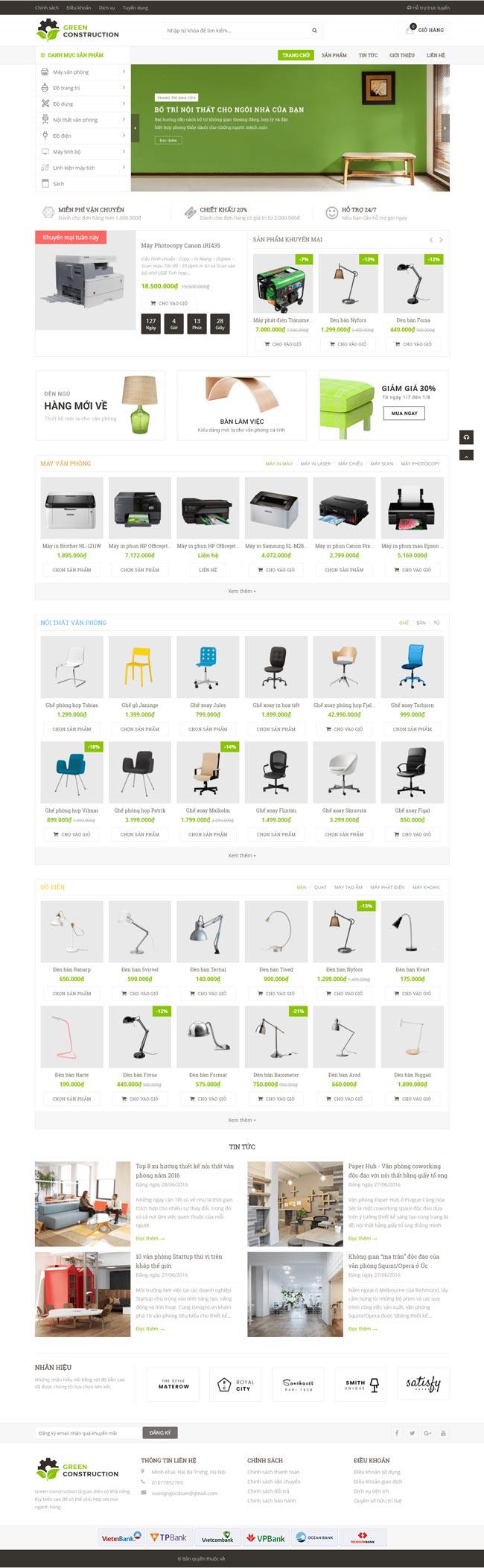 website bán nội thất furniture demo
