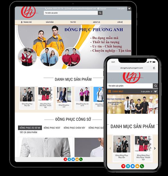 Dự án website bán thời trang và quần áo đồng phục của CÔNG TY TNHH SX TM DV PHƯƠNG ANH