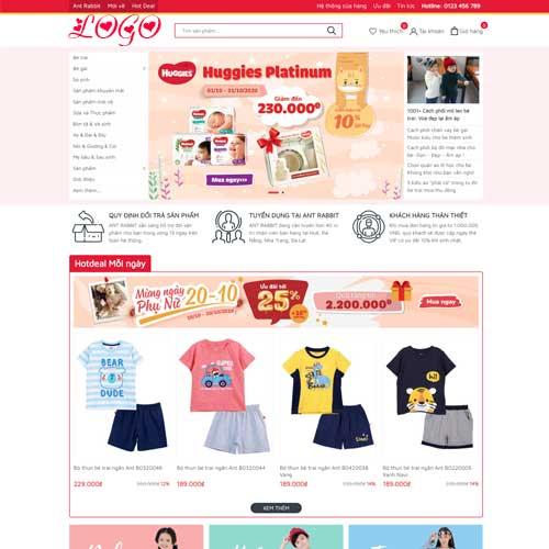 Mẫu web bán đồ mẹ và bé demo