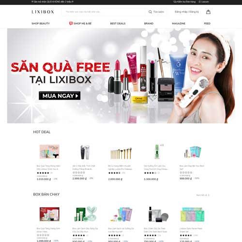 Mẫu website bán mỹ phẩm lixibox